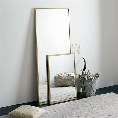 floor mirror mirrored frame metal framed floor mirror west elm