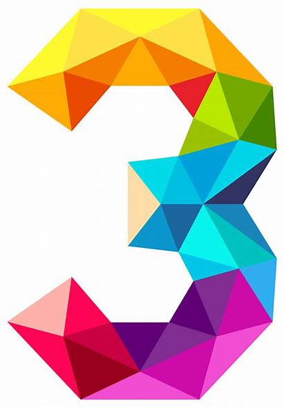 Clipart Numbers Number Colourful Triangles Three Transparent