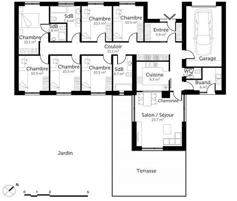 plan maison 5 chambres plain pied plan maison plain pied 6 chambres ooreka