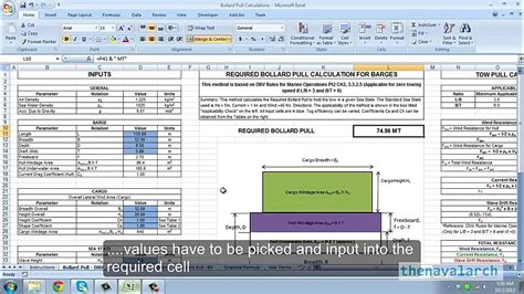 excel spreadsheet  bollard pull calculations barges