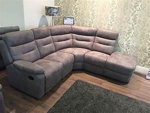 Reclining corner sofa or cream fabric reclining corner for Sectional sofa with corner recliner