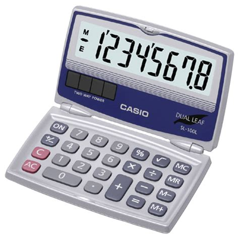 CASIO SL-100L | Solar Calculator with Folding Hard Case