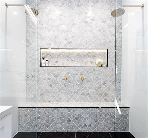 Bathroom Tile Feature Ideas by Marble Feature Tiles Interiors Bathroom In 2019