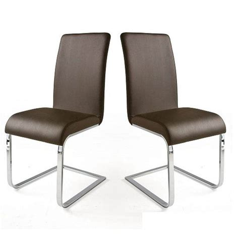lotte brown faux leather dining chairs with chrome legs