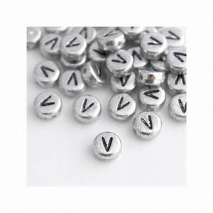 7mm silver acrylic alphabet beads letter quotvquot beadbubble With silver letter beads