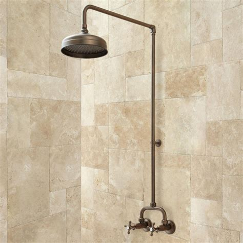 Wall Mount Shower Baudette Exposed Pipe Wall Mount Shower With Rainfall