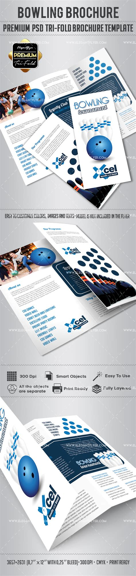 Tri Fold Brochure Templates Free By Elegantflyer Bowling Tri Fold Brochure Psd Template By Elegantflyer