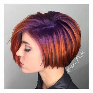 We Are Loving This Short Haircut With Its Bright Purple To
