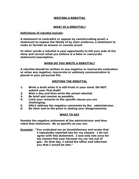 letter of rebuttal template rebuttal letter exle best letter sle