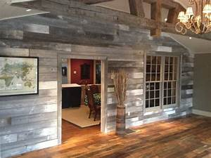 white gray barn wood wall by reclaimed designworks With barn wood for walls for sale