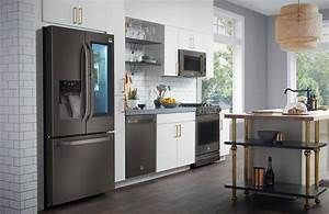 the appeal of black stainless steel appliances consumer With kitchen colors with white cabinets with stove top replacement stickers