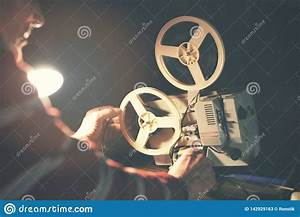 Man, Set, Up, Film, Reel, On, Vintage, 8mm, Movie, Projector, Stock, Image