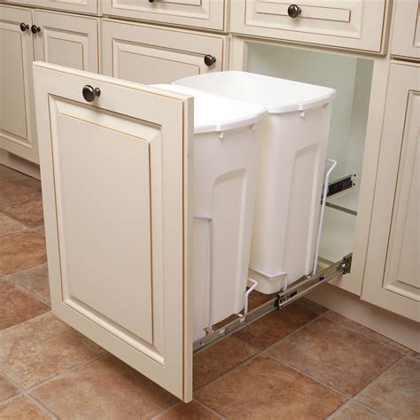 kitchen garbage cans in cabinet shop knape vogt 35 quart plastic pull out trash can at 8105