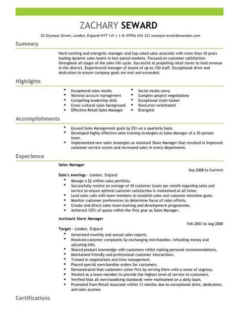 sales manager cv template cv samples examples