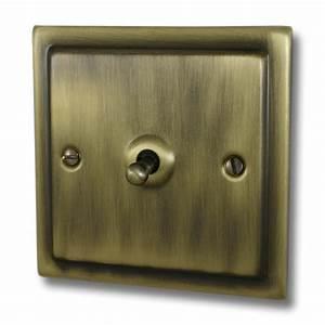 Victorian Antique Brass Intermediate Toggle Switch