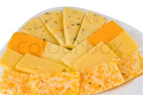 Different Types Of Cheese Isolated On White
