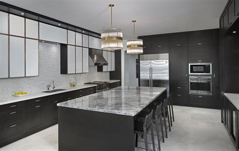 Black Laminated Wooden Kitchen Island With Grey Marble