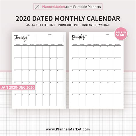 dated monthly calendar  month planner monthly
