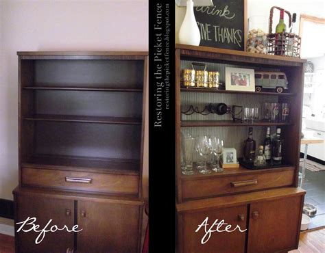 Bar Makeover by Restoring The Picket Fence Bookcase Bar Makeover