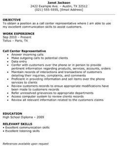 call center representative resume  resume template site