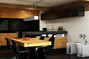 Cuisine noire et bois moderne et elegante for Idee deco cuisine avec meuble cuisine noir et bois