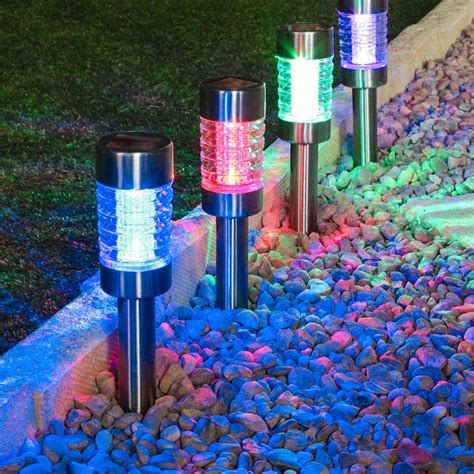 color changing solar lights stainless steel solar stake lights colour changing best