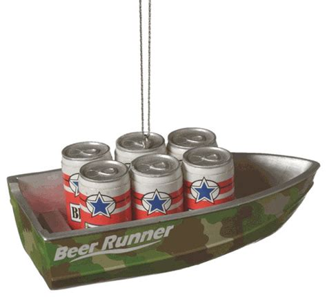 beer runner camouflage boat christmas tree ornament lake