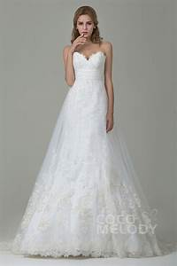 cocomelody a line sweetheart court train tulle lace With a line wedding gowns