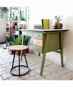 Bureau écolier Vintage : brocante vintage bureau d 39 colier ann es 50 r nov vert mat 4 tiroirs ~ Nature-et-papiers.com Idées de Décoration