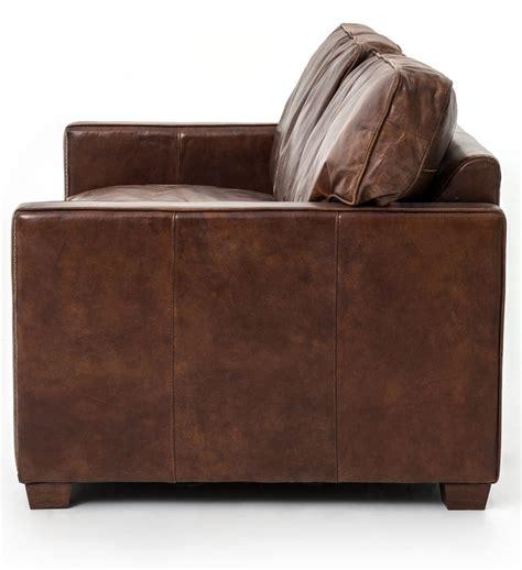 four hands carnegie sofa four hands 72 quot cigar brown leather larkin sofa ccar 24