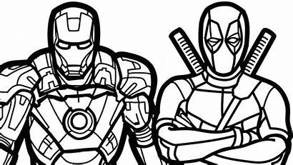 Coloring Deadpool Pages Marvel Heroes Iron Printable