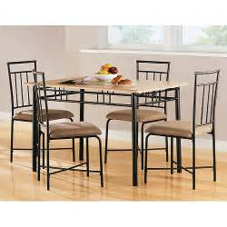mainstays 5 piece wood and metal dining set natural