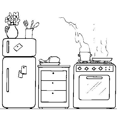 dessin animé de cuisine coloriage cuisine