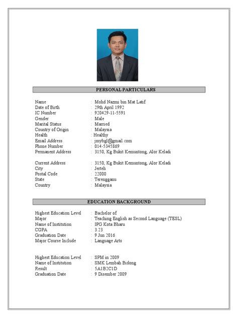 Contoh Resume Terbaik Malaysia