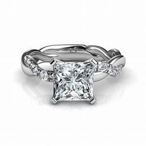 twist princess cut diamond engagement ring in 14k white gold With wedding ring diamond cuts