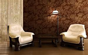 Contemporary living room decor ideas with brown wallpaper