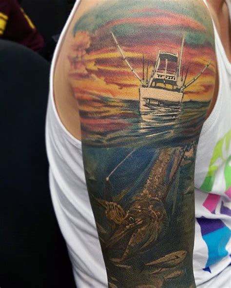 Fishing Boat Tattoo Designs by 75 Fishing Tattoos For Men Reel In Manly Design Ideas