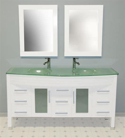 Cambridge 63 Inch White Double Sink Vanity Set, Tempered