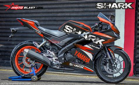 modifikasi striping   yamaha  black shark motoblast