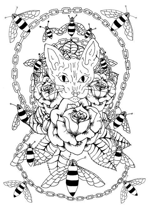 Chat sphynx, abeilles et chaîne métallique - Tatouages