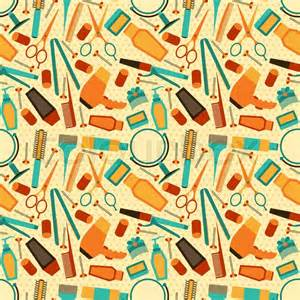 Tool Box Style Dresser by Hairdressing Tools Seamless Pattern In Retro Style Stock