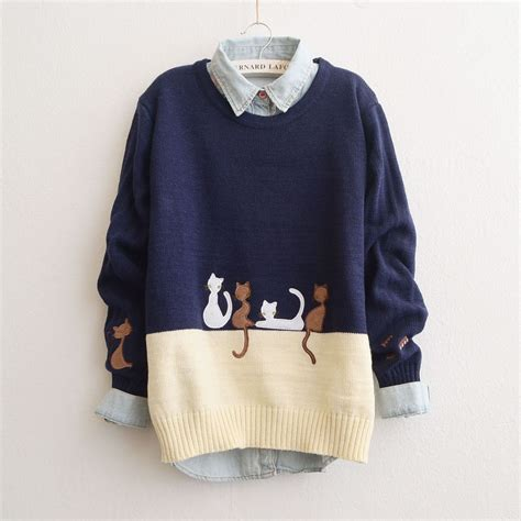 cat sweaters japanese cat knitted sweater coat kawaii harajuku