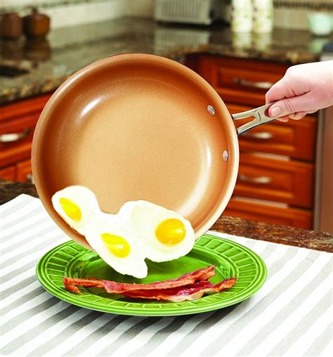 bulbhead  red copper  pc copper infused ceramic  stick cookware set vip outlet