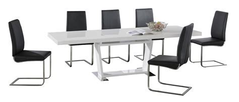 Large White High Gloss Extending Dining Table with 8 Black