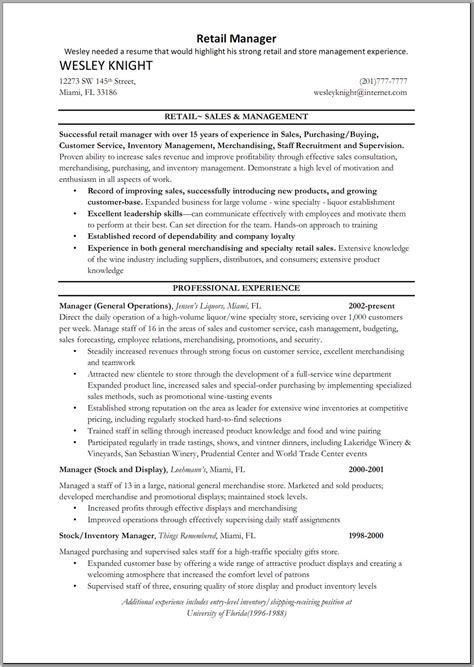 Manager Resume Summary by Resume Sle Sle To Write A Resume For Store Manager In Retail Resume Store Manager