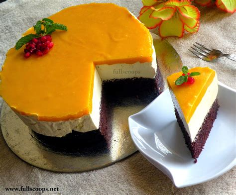 eggless mango mousse cake full scoops  food blog