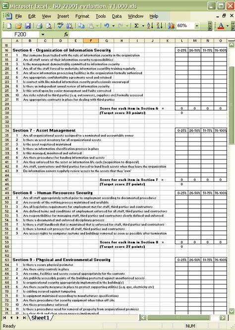 Iso 27001 Benchmark Spreadsheet