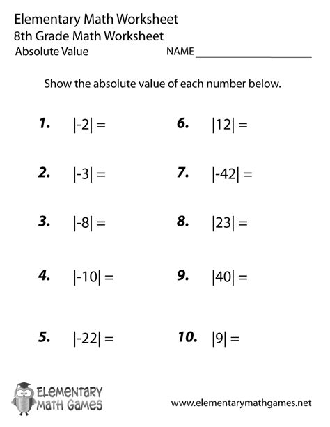 eighth grade absolute value worksheet