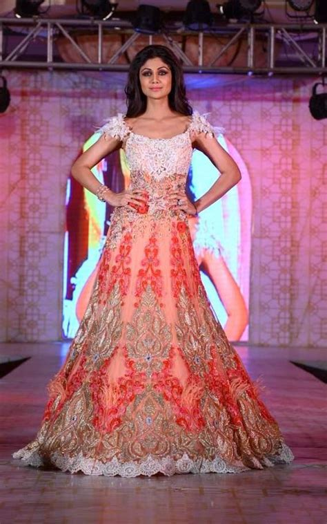 Bridal Shower Dresses For Bride by Shilpa Shetty In Bridal Long Anarkali Gown By Rohit Verma