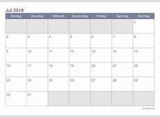 Kalender Juli 2018 zum Ausdrucken iKalenderorg